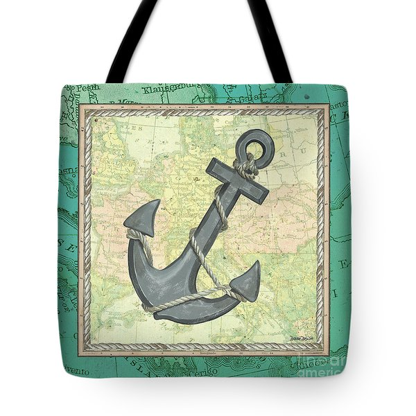 Aqua Maritime Anchor Tote Bag