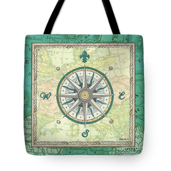 Aqua Maritime Compass Tote Bag