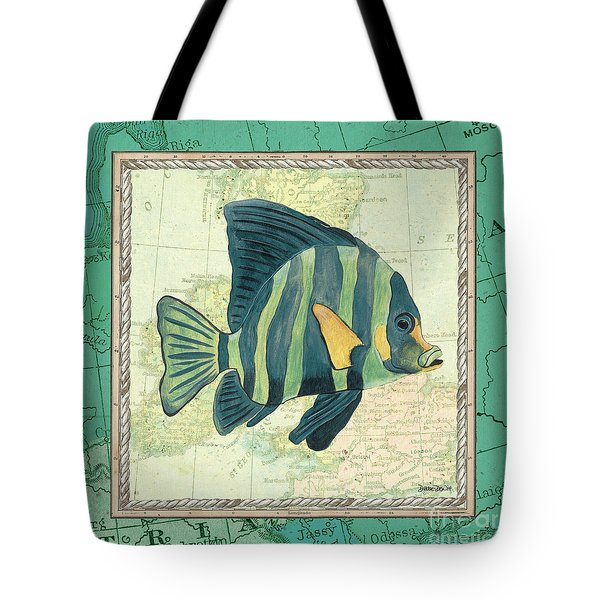 Aqua Maritime Fish Tote Bag