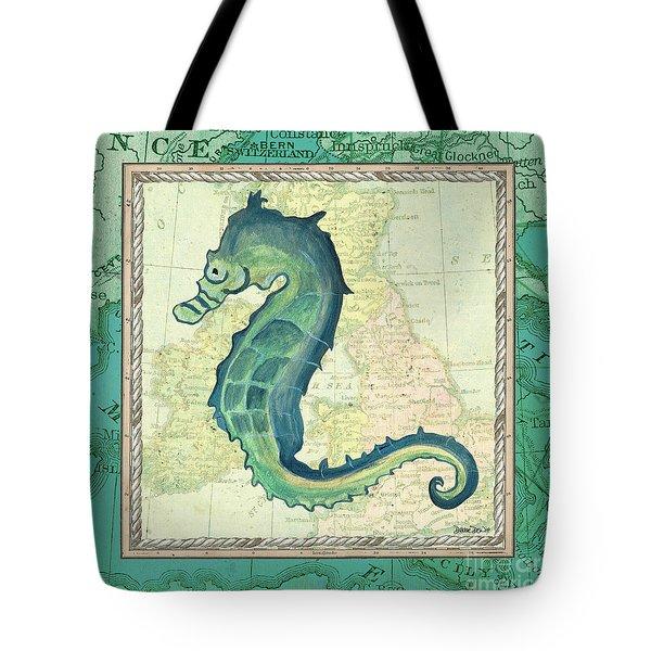 Aqua Maritime Seahorse Tote Bag