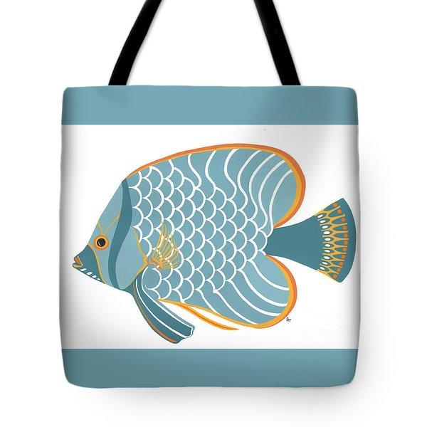 Aqua Mid Century Fish Tote Bag by Stephanie Troxell