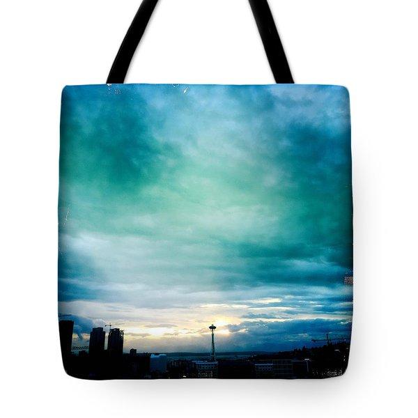Aqua Needle Tote Bag