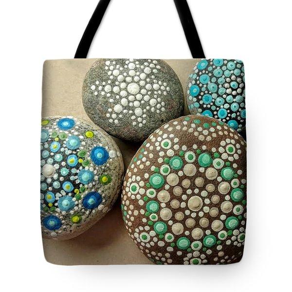 Aqua Pondering Pebbles Tote Bag by Kathy Sheeran