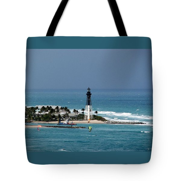 Aqua Water At Hillsboro Lighthouse In Florida Tote Bag