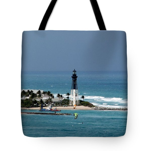 Aqua Water At The Lighthouse Tote Bag