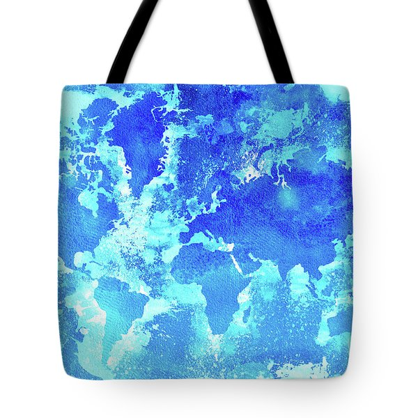 Aqua World Map Tote Bag
