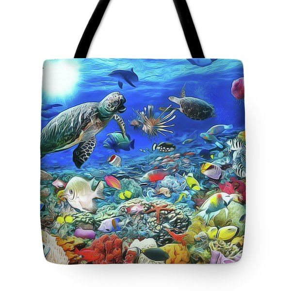 Tote Bag featuring the painting Aquarium by Harry Warrick
