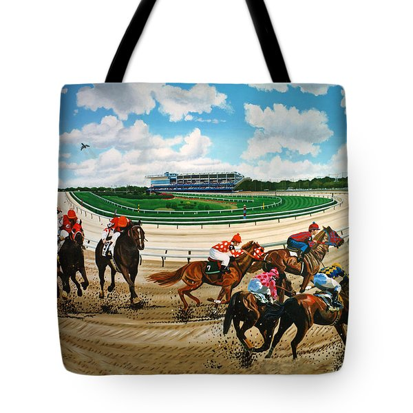 Aqueduct Racetrack Tote Bag by Bonnie Siracusa
