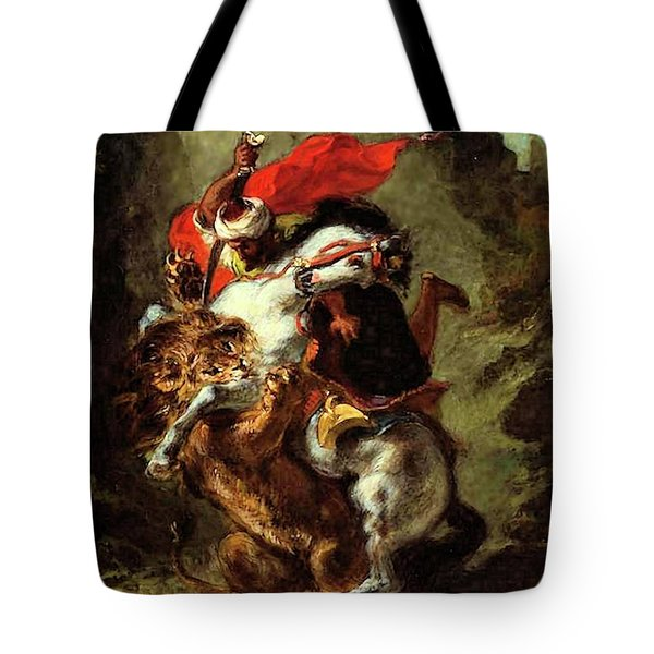 Tote Bag featuring the painting Arab Horseman Attacked By A Lion by Eugene Delacroix