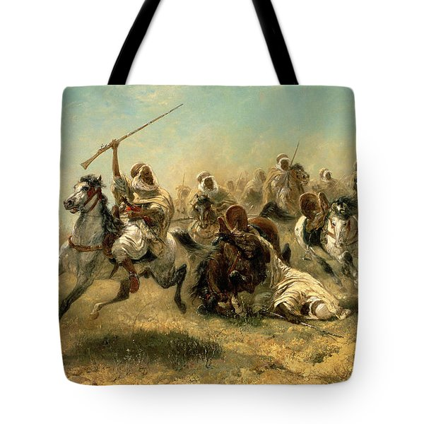 Arab Horsemen On The Attack Tote Bag by Adolf Schreyer
