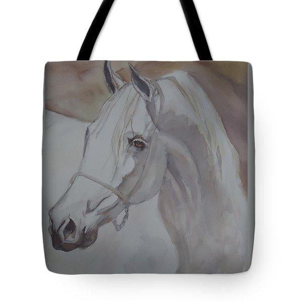 Arab Stallion In The Desert Tote Bag