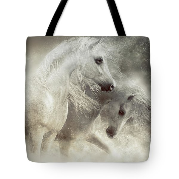 Tote Bag featuring the digital art Arabian Horses Sandstorm by Shanina Conway