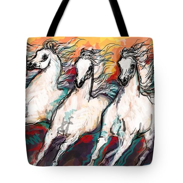 Arabian Sunset Horses Tote Bag
