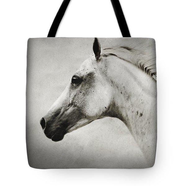Arabian White Horse Portrait Tote Bag