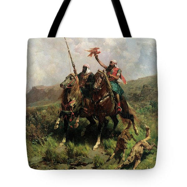 Arabs With A Falcon Tote Bag by Alberto Pasini