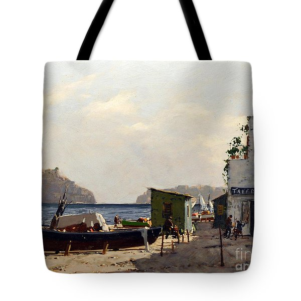 Tote Bag featuring the painting Aragonese's Castle - Island Of Ischia by Rosario Piazza
