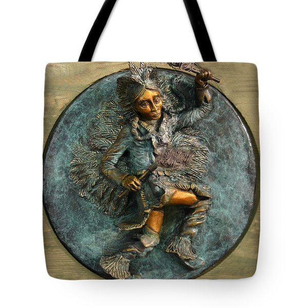 Tote Bag featuring the relief Arapaho Dancer From Snowy Range Life  by Dawn Senior-Trask