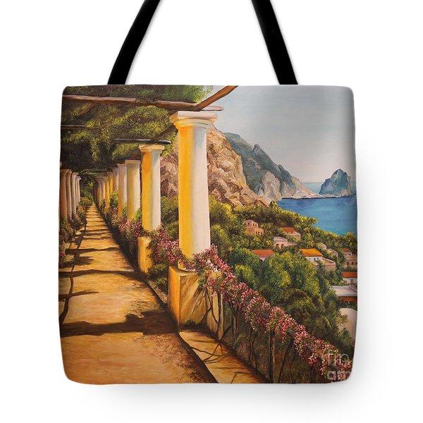 Arbor Walk In Capri Tote Bag by Charlotte Blanchard