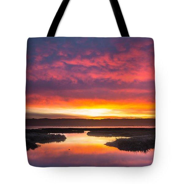 Arcata Bay Fire Sunrise Tote Bag by Greg Nyquist