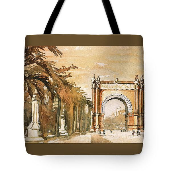 Tote Bag featuring the painting Arch- Barcelona, Spain by Ryan Fox