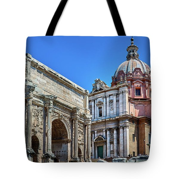 Tote Bag featuring the photograph Arch Of Septimius Severus At The Roman Forum by Eduardo Jose Accorinti