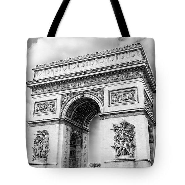 Arch Of Triumph - Paris - Black And White Tote Bag