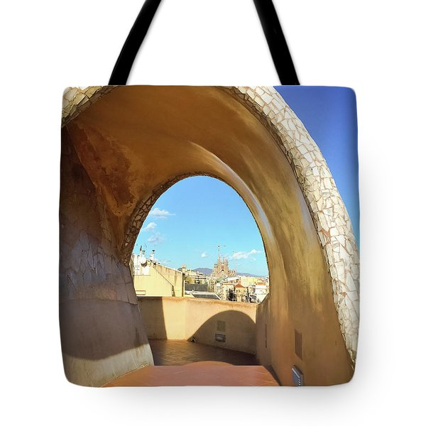 Tote Bag featuring the photograph Arch On The Rooftop Of The Casa Mila by Colleen Kammerer