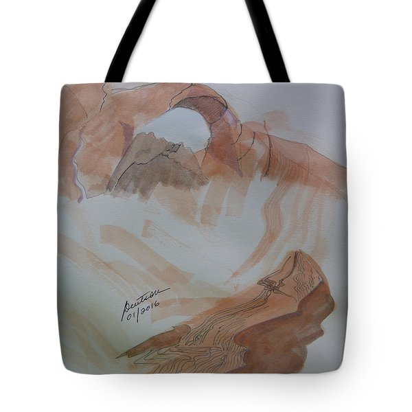 Tote Bag featuring the painting Arch Rock - Sketchbook Doodle by Joel Deutsch