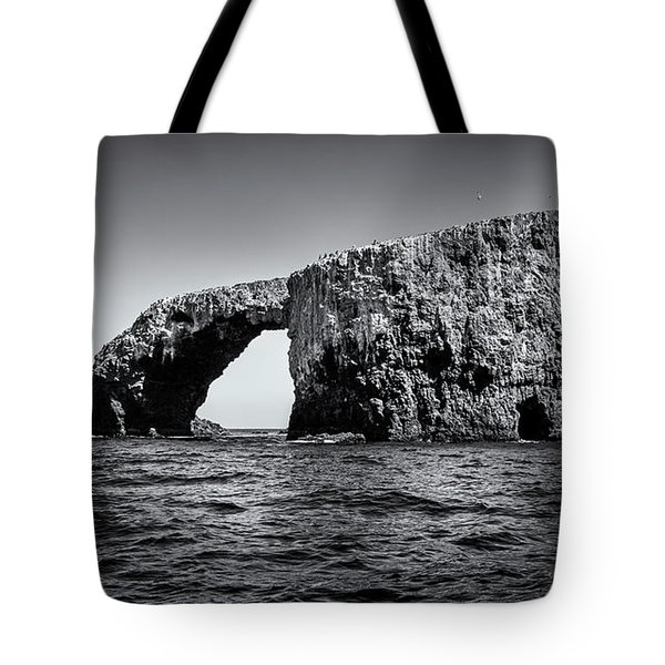 Tote Bag featuring the photograph Arch Rock Three In Black And White by Endre Balogh