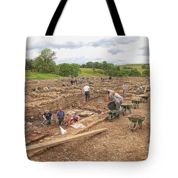 Archaeologists At Work At Roman Vindolanda Tote Bag