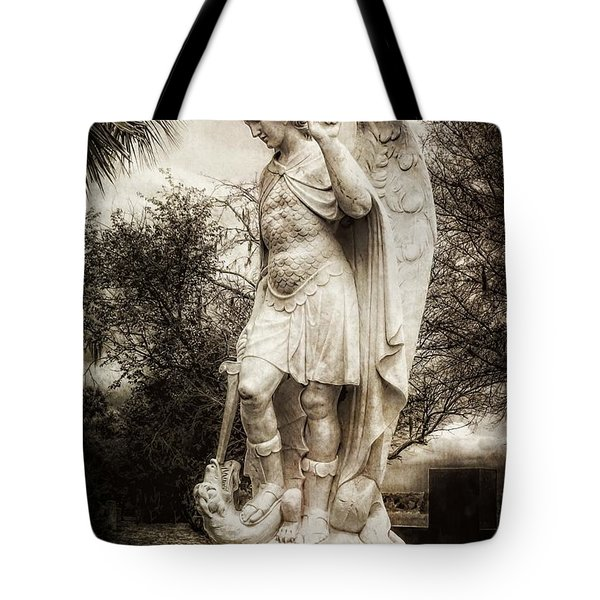 Archangel Michael Slaying Dragon Tote Bag
