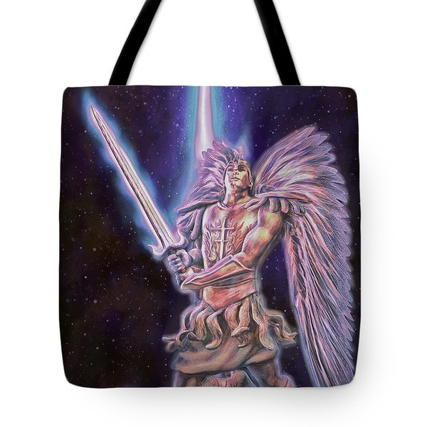 Tote Bag featuring the painting Archangel Michael - Starstuff by Dave Luebbert