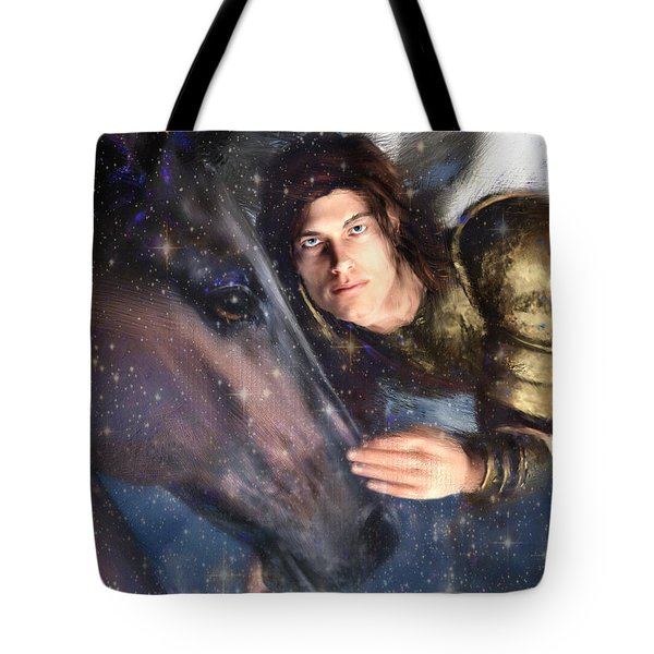 Tote Bag featuring the painting Archangel Michael by Suzanne Silvir