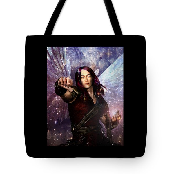 Tote Bag featuring the painting Archangel Raphael Heals by Suzanne Silvir