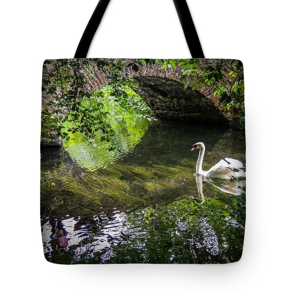 Arched Bridge And Swan At Doneraile Park Tote Bag