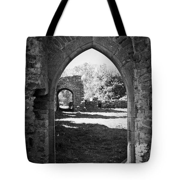 Arched Door At Ballybeg Priory In Buttevant Ireland Tote Bag by Teresa Mucha