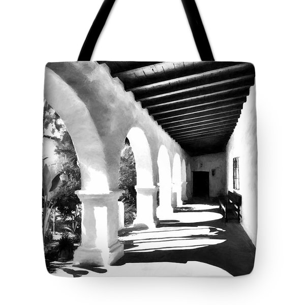 Tote Bag featuring the photograph Arches Of Southern California Bw by Mel Steinhauer