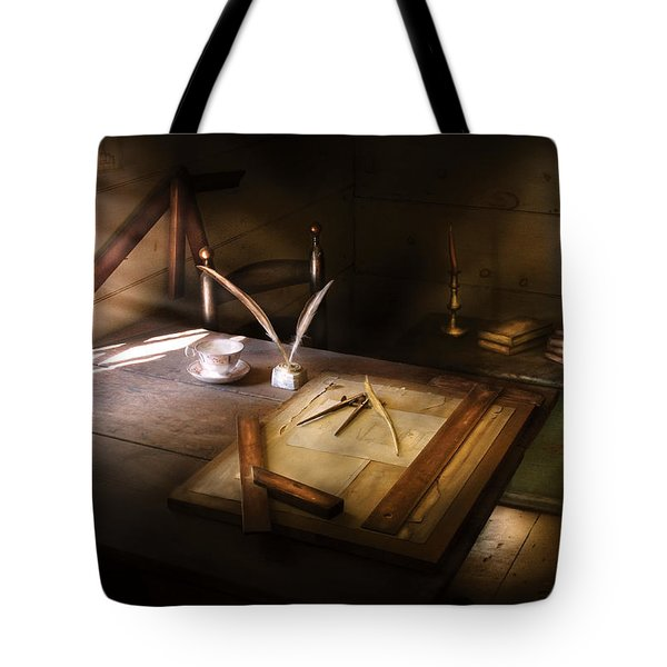 Architect - The Drafting Table  Tote Bag by Mike Savad