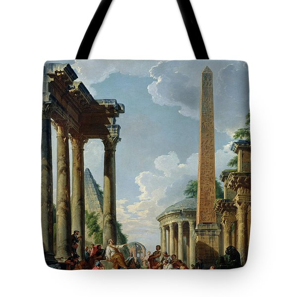 Architectural Capriccio With A Preacher In The Ruins Tote Bag by Giovanni Paolo Pannini or Panini