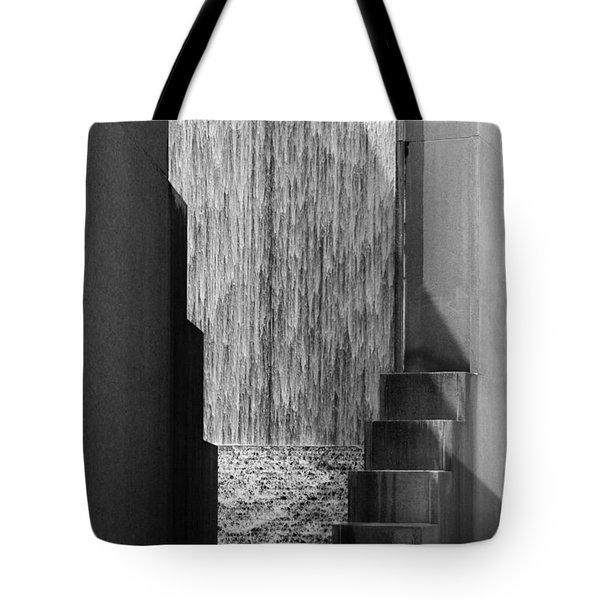 Architectural Waterfall In Black And White Tote Bag