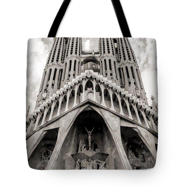 Architecture Antoni Gaudi La Sagrada Familia Barcelona Spain Sepia  Tote Bag