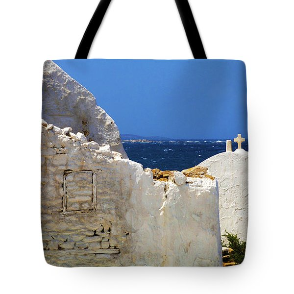 Tote Bag featuring the photograph Architecture Mykonos Greece 2 by Bob Christopher