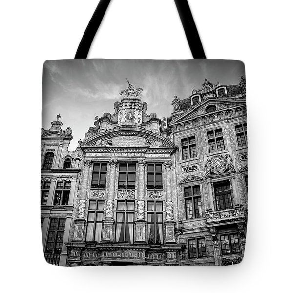 Architecture Of The Grand Place Brussels In Black And White Tote Bag