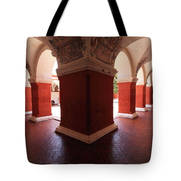 Tote Bag featuring the photograph Archway Paintings At Santa Catalina Monastery by Aidan Moran