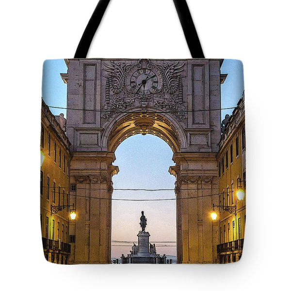 Arco Da Rua Augusta At Sunrise Tote Bag
