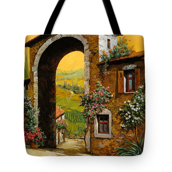 Tote Bag featuring the painting Arco Di Paese by Guido Borelli