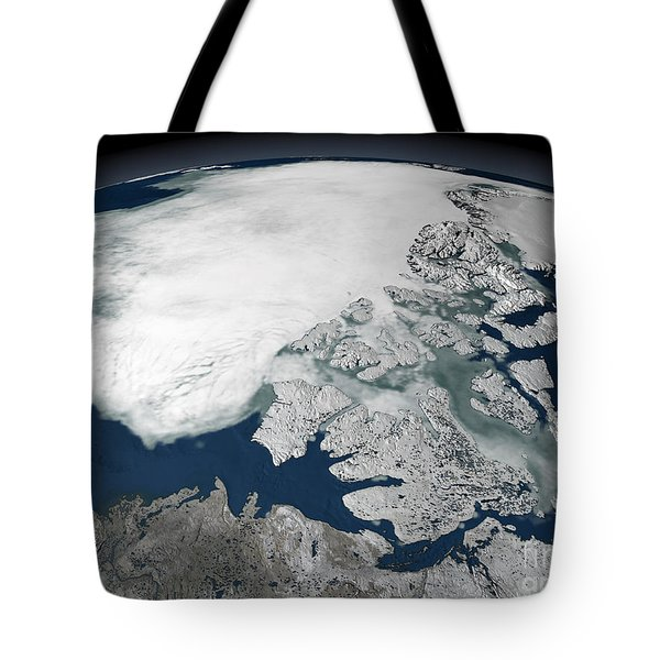 Arctic Sea Ice Above North America Tote Bag by Stocktrek Images