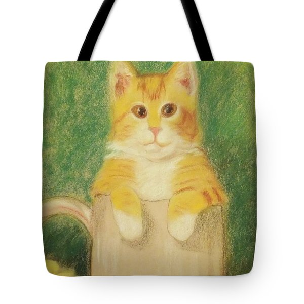 Tote Bag featuring the drawing Are You Sure It's Ok To Be In Here? by Denise Fulmer