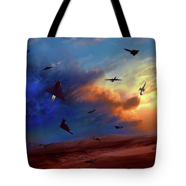 Tote Bag featuring the painting Area 51 Groom Lake by Dave Luebbert