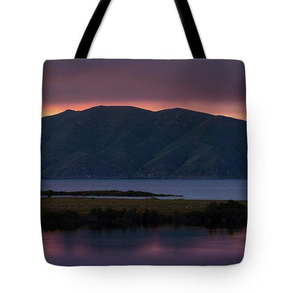 Aregunyats Range And Sevan Lake At Sunset, Armenia Tote Bag